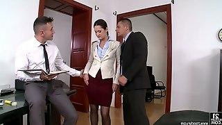 Sexy secretary Angie Moon enjoys having dirty threeway sex in the office