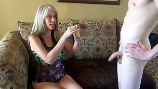Naughty milf with big tits seduces and fucks young roommate