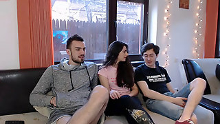 Romanian boy ejaculates on his forearm - first time on Chaturbate