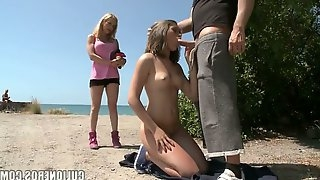 Nasty blond chick Lara is fucked by stranger in front of best girlfriend