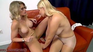 Pretty ladies playing in sheer pantyhose