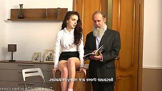 Bearded old teacher fucks pretty sophomore student Milana Witch