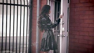 Seductive brunette Vanessa Vega in stockings fucked by a stranger