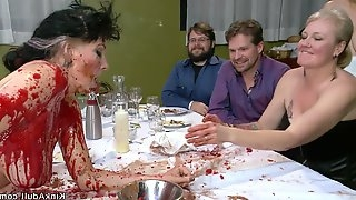 Slave gets pounded in public soup course