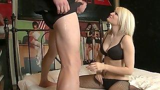 Good looking blondie Raven Dawn in fishnet stockings having sex