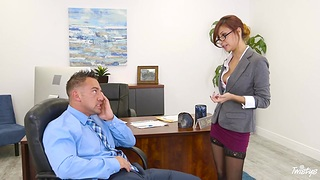 Bossy milf Hollow out Jantzen flashes her panties and seduces young employee Johnny