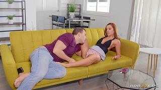 Redhead hottie Vanna Bardot enjoys having sex with two guys