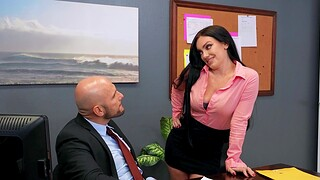Hardcore fucking in the office with thersitical babe Leila Larocco