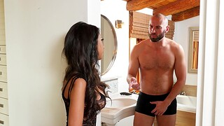 Provocative wife Trinity St. Clair in stockings gets fucked good