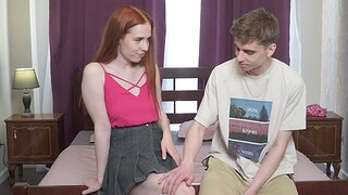 Gentle fucking in the bedroom with sweet redhead Jessie Way
