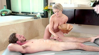 Cougar masseuse Dee Williams gives a nuru wonder with respect to young challenge Lucas Frost