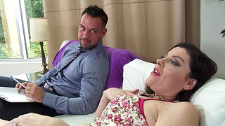 Horny cougar Sovereign Syre gives a blowjob and gets fucked hard