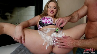 Horny chip divide up shaves her pussy and gets fucked hard from behind