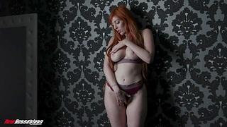Stunning bombshell Lauren Phillips fucks mortal physically with a huge dildo